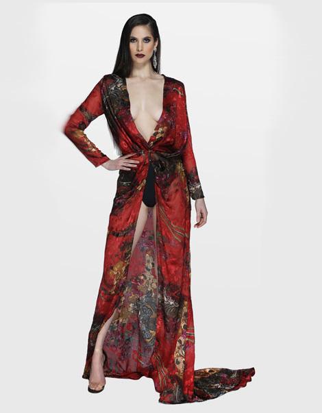 Jennifer Gown Black_Red Print Front